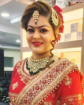 Red Glam Makeup by Best Wedding Makeup Artist in Seelampur
